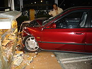 Four pedestrians injured when car crashed onto sidewalk!