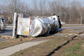 Truck Accident Notice: Semi truck flipped over on I-79 - New York