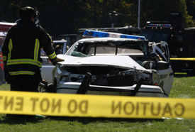 Crash with semi truck kills New York State Trooper